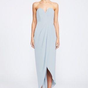 Shona Joy Powder Blue Strapless Maxi Dress